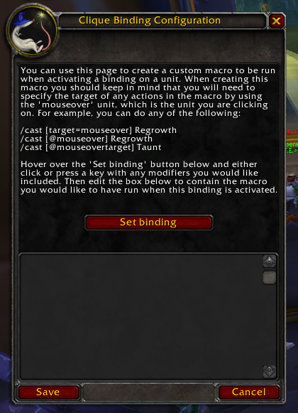 Wow Classic Clique Addon Binding Config