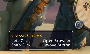 Classiccodex Wow Classic 1.13 Addon Minimap Button 1