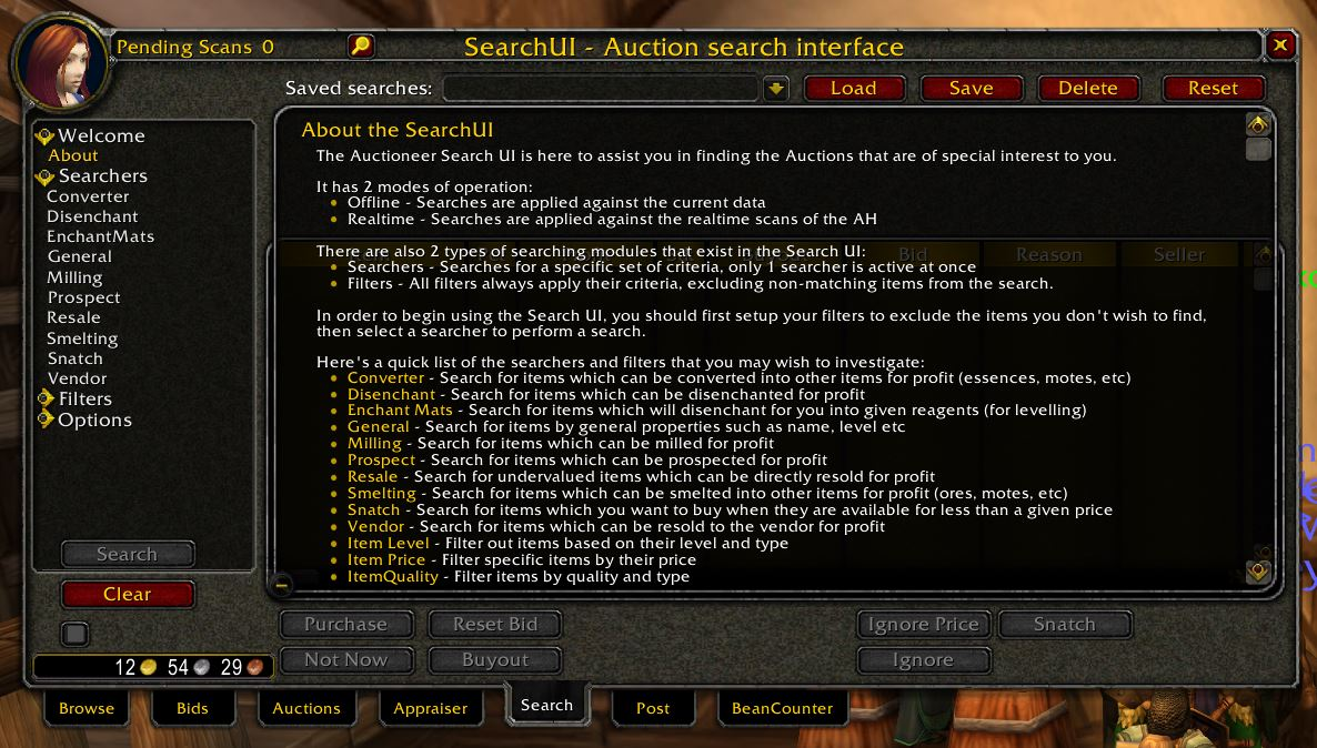 Auctioneer Wow Classic Addon 1.13 Searchui 1