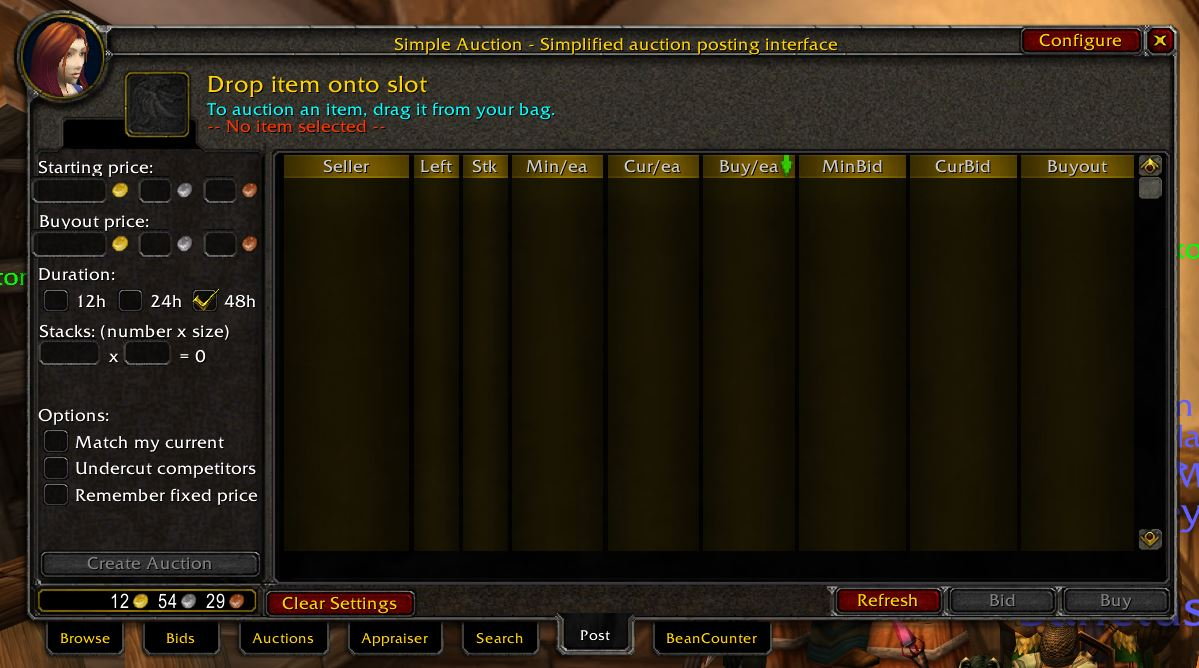 Auctioneer Wow Classic Addon 1.13 Simple Auction 1