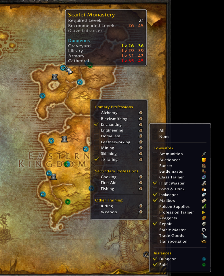 Townsfolk Tracker Wow Classic Addon Map