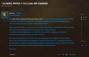 Addons Can No Longer Use Custom Chat Channels To Communicate After Patch 1.13.3