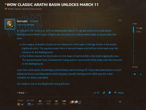 Arathi Basin Unlocks In Wow Classic On March 11th