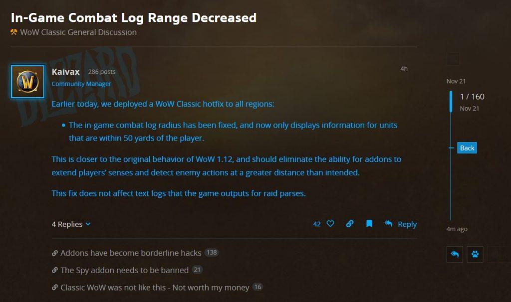 Blizzard Decreases Range Of In Game Combat Log