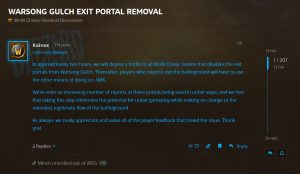 Blizzard Removes Exit Portals From Warsong Gulch In Wow Classic