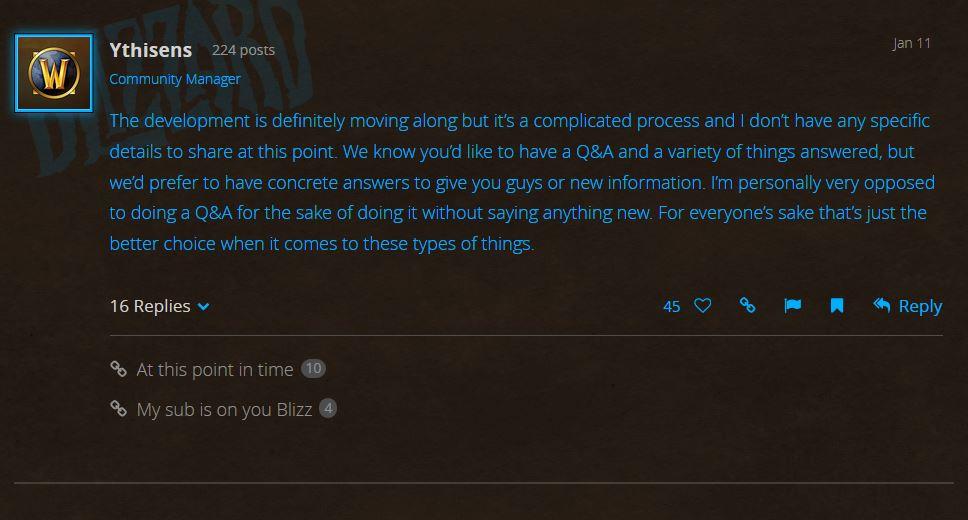 Blizzard Responds to WoW Classic Development Community Questions