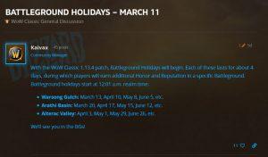 Blizzard Add Battleground Holidays To Wow Classic