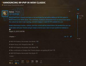 Blizzard Announces Rp Pvp Realms Will Be Available At Launch