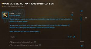 Blizzard Applies Hotfix To Remove Xp Bug For Raid Parties