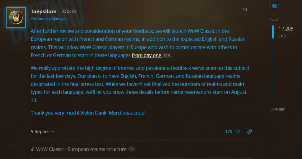 Blizzard Changes Stance On European Realm Structure