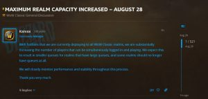 Blizzard Increases Maximum Realm Capacity For Wow Classic
