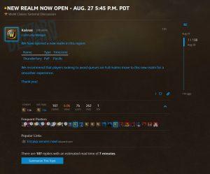 Blizzard Open New Us Pvp Realm Thunderfury