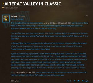 Blizzard posts World of Warcraft Classic's plan for Alterac Valley
