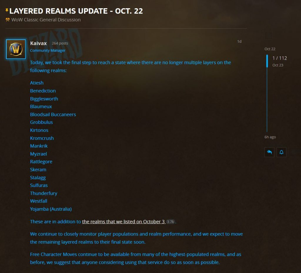 Blizzard Posts An Update About Layering In Multiple Realms