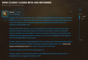 Blizzard Reopens The Wow Classic Beta With Lvl 40 Character Templates