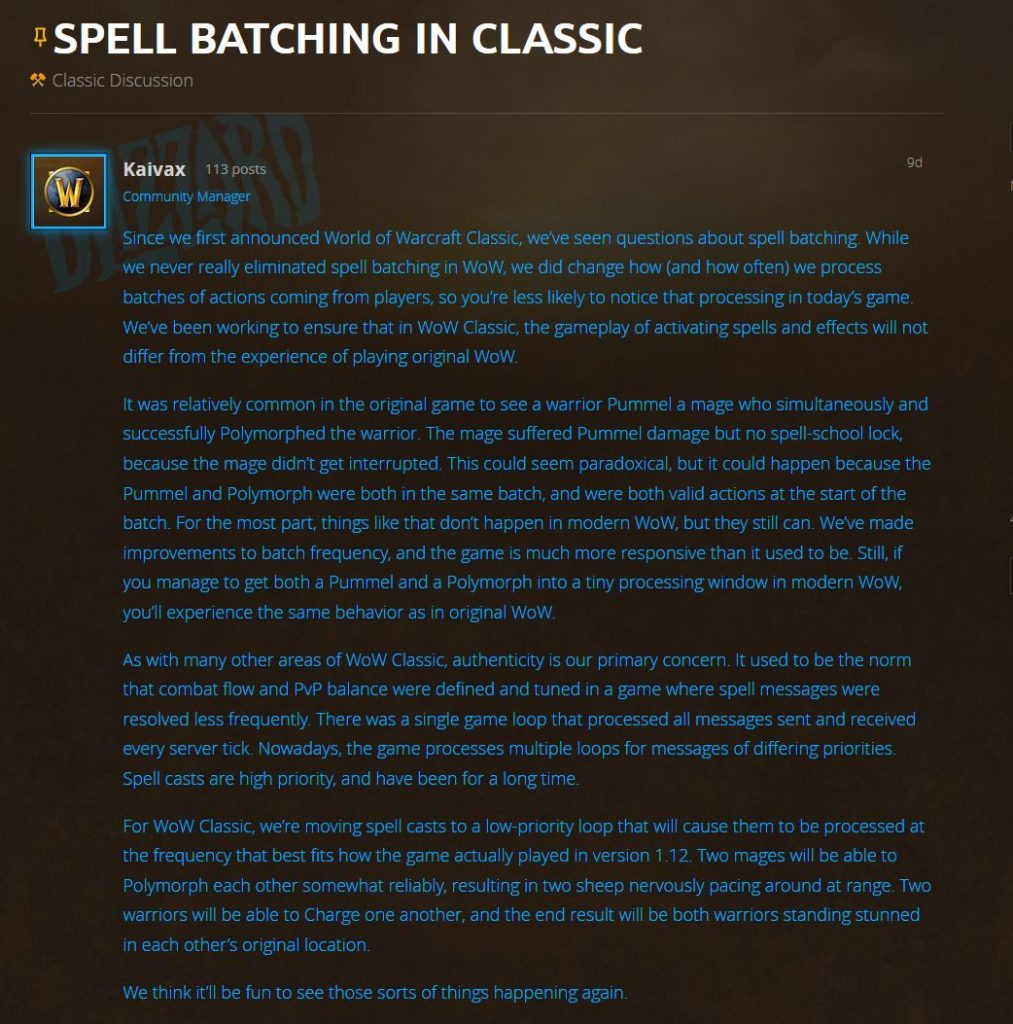 Blizzard talks about Spell Batching in WoW Classic