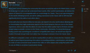 Blizzard Will Be Adding Restrictions To The Classic Api That Will Significantly Limit Classiclfg Addon