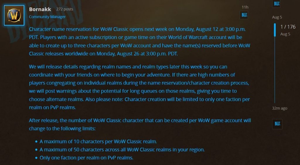 Character Name Reservation Opens On The 12th, Realm Names And Types Coming Later This Week