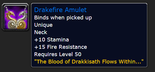 Classic Wow Onyyxia's Lair Attunement Guide Drakefire Amulet Stats