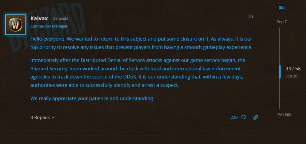Ddos Attack Update From Blizzard