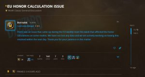 Honor Calculation Bug Currently Affecting Eu Realms In Wow Classic