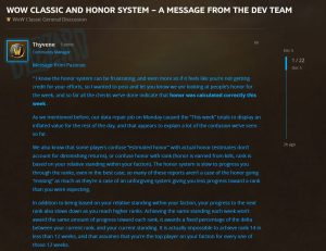 Honor System Update From The Wow Classic Team