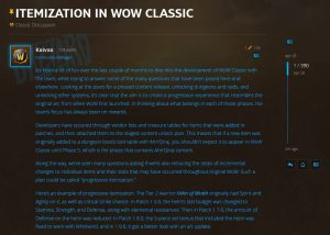 Itemization in WoW Classic explained by Blizzard