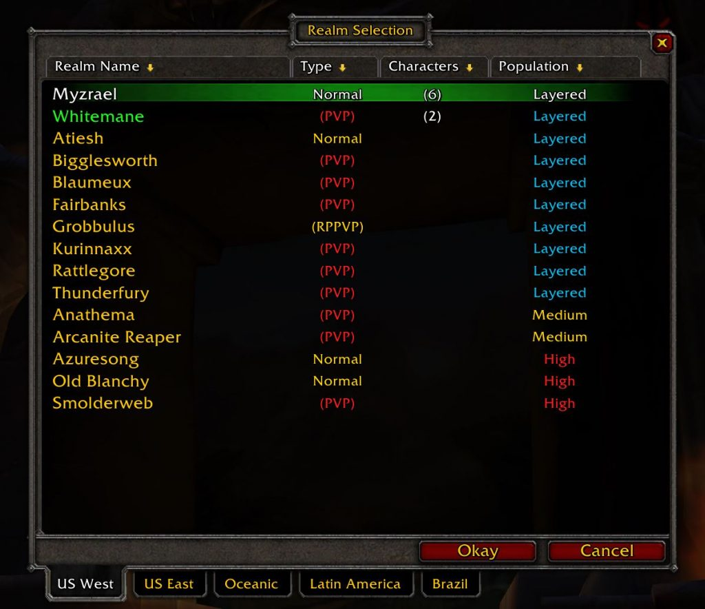 Layered Is Now Showing On Realms In The Realm Selection List In Wow Classic