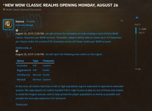 New Wow Classic Realms Opening On Monday