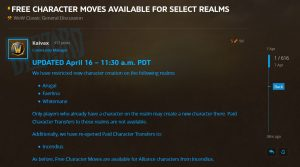 New Character Creation Restricted On Select Realms In Wow Classic