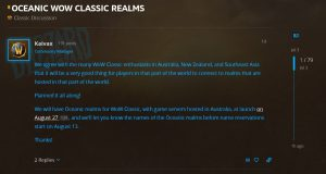 Oceanic Realms Will Be Available For Wow Classic