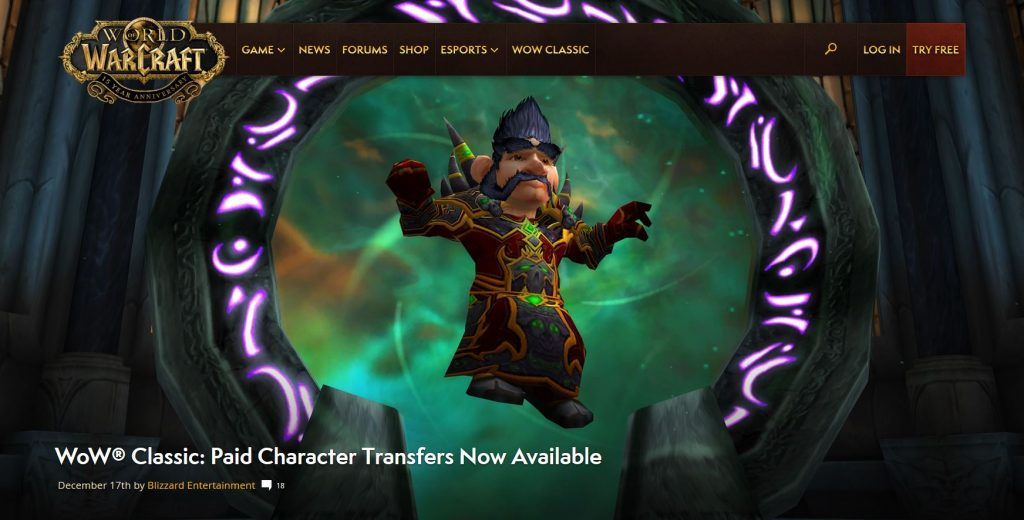 Paid Character Transfers Are Now Available In Wow Classic
