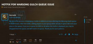 Wsg Queue Issue Hotfixed In Wow Classic