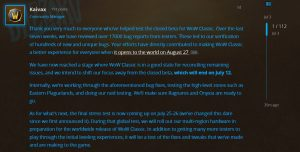 Wow Classic Beta Update Shared By Blizzard