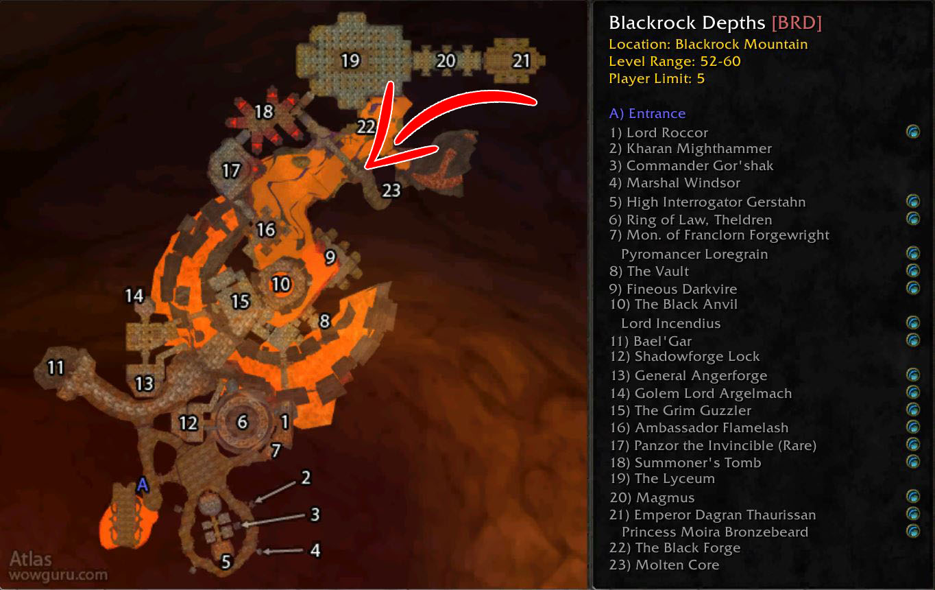 Wow Classic Blackrock Depths Core Fragment Location