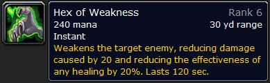 WoW Classic Hex of Weakness Spell