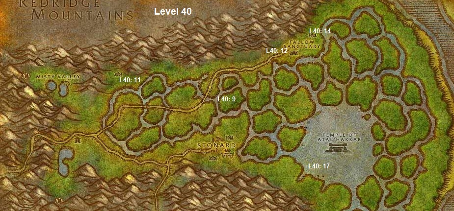 Wow Classic Horde Leveling Guide 40 Swamp Of Sorrows