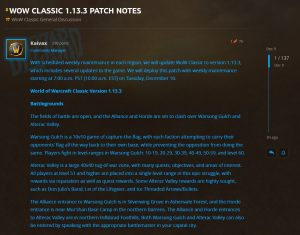 Wow Classic Patch Notes 1.13.3 Av, Wsg, And Elemental Invasions