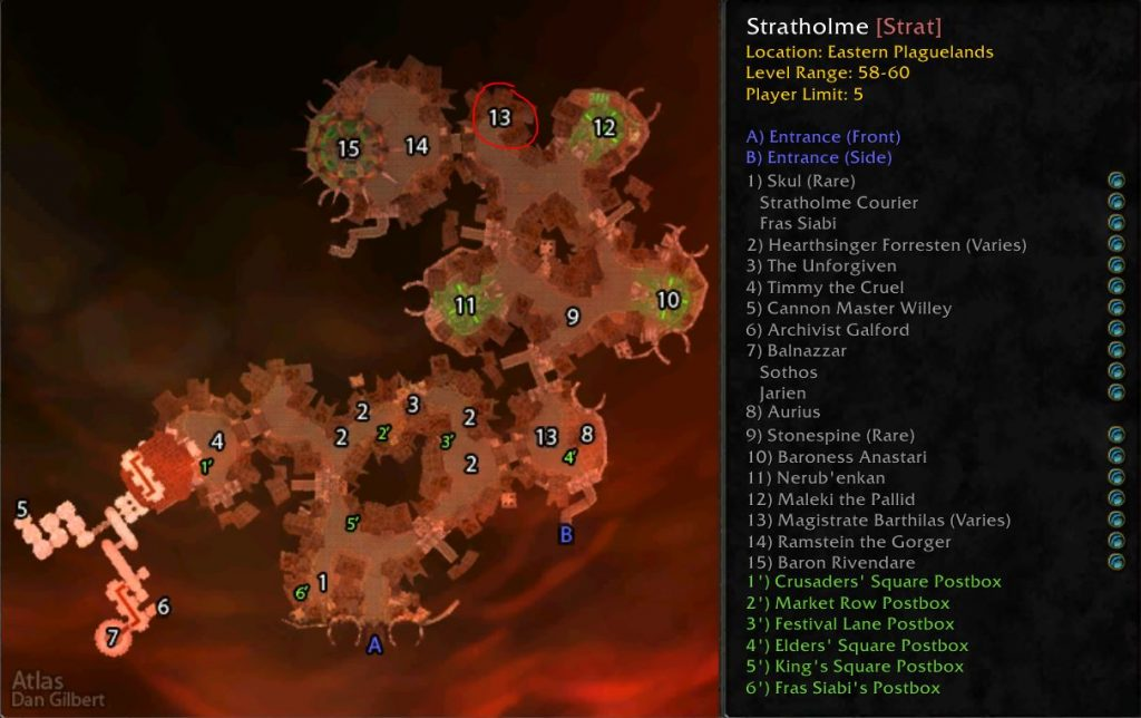 WoW Classic Stratholme Magistrate Barthilas Location