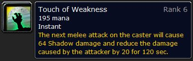 WoW Classic Touch of Weakness Spell