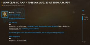 Wow Classic Dev Team Ama Planned For Aug 20th On Reddit