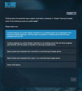 Tbc Classic Blizzard Survey Question