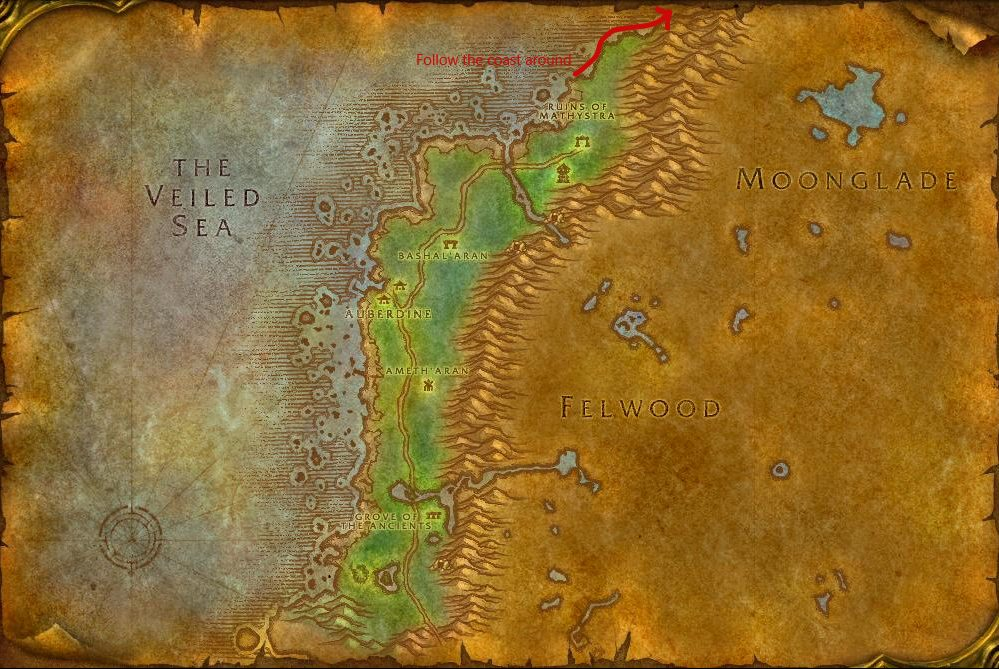 Directions To Moonglade Darkshore Map