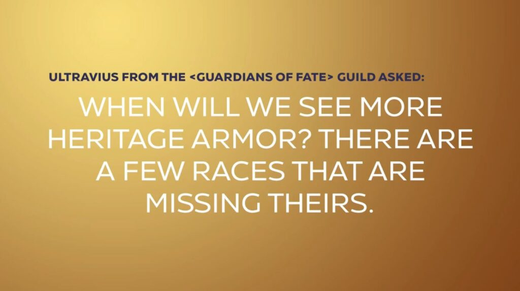 Shadowlands Blizzcon When Will We See More Heritage Armor For The Races That Is Missing