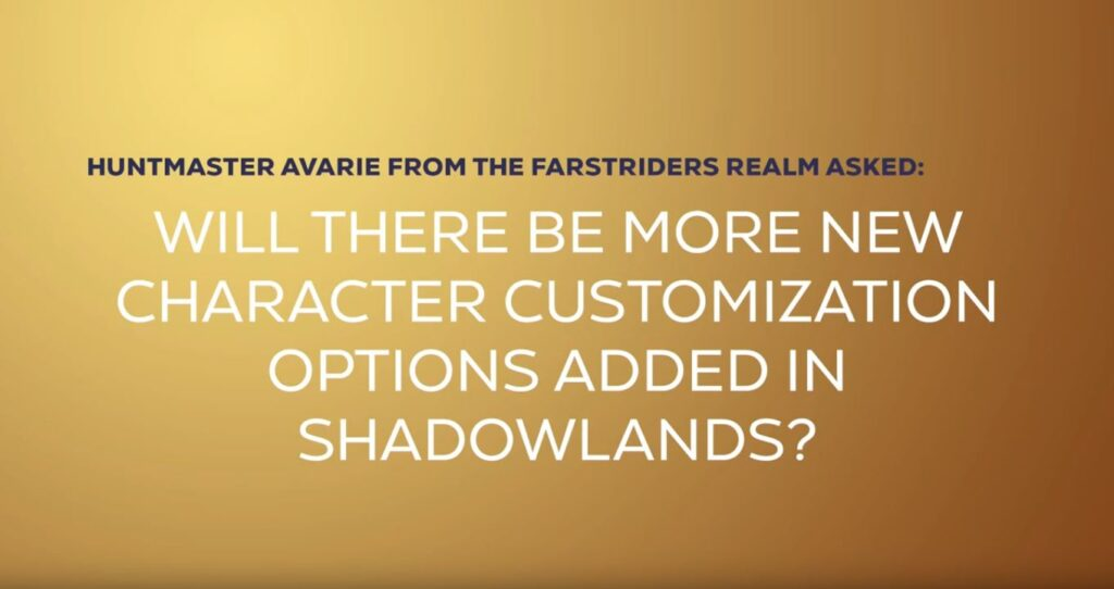 Shadowlands Blizzcon Will There Be More New Character Customization Options Added In Shadowlands