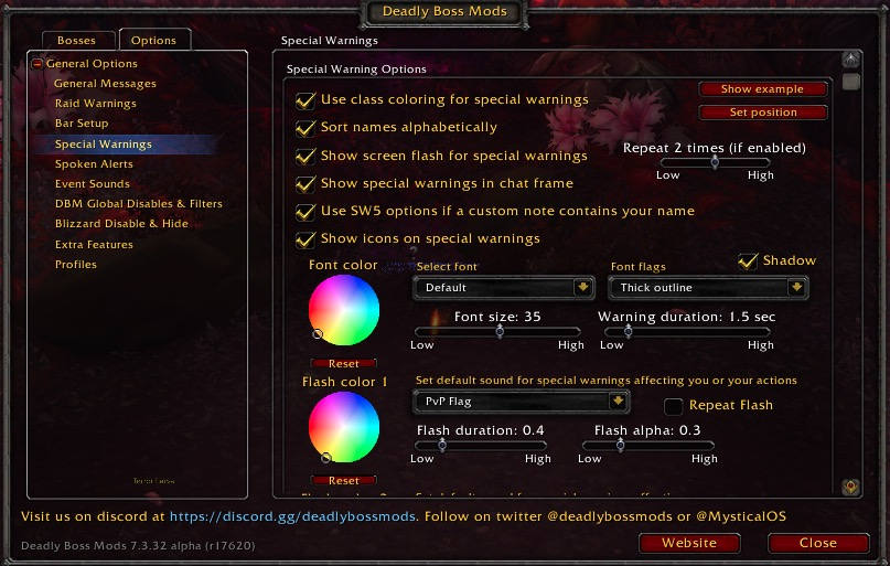 Wow Addon Deadly Boss Mods Dbm Special Warning Options