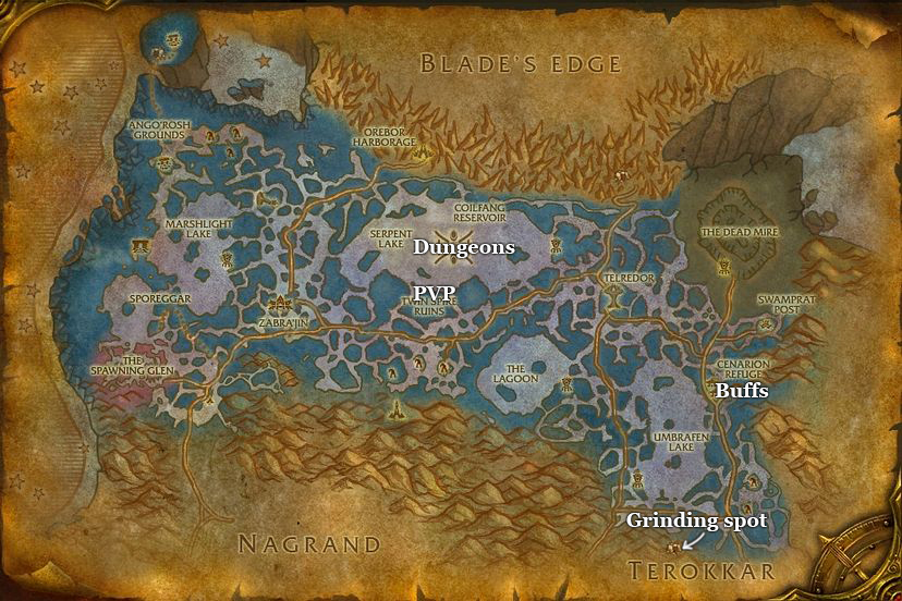 leveling guide zangarmarsh part 5 dungeons and grinding spots