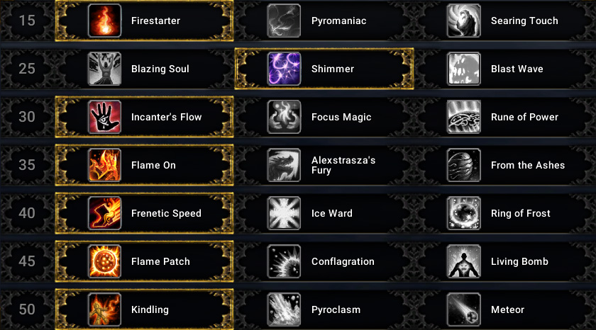 Simple Fire Mage Dps Talents Shadowlands