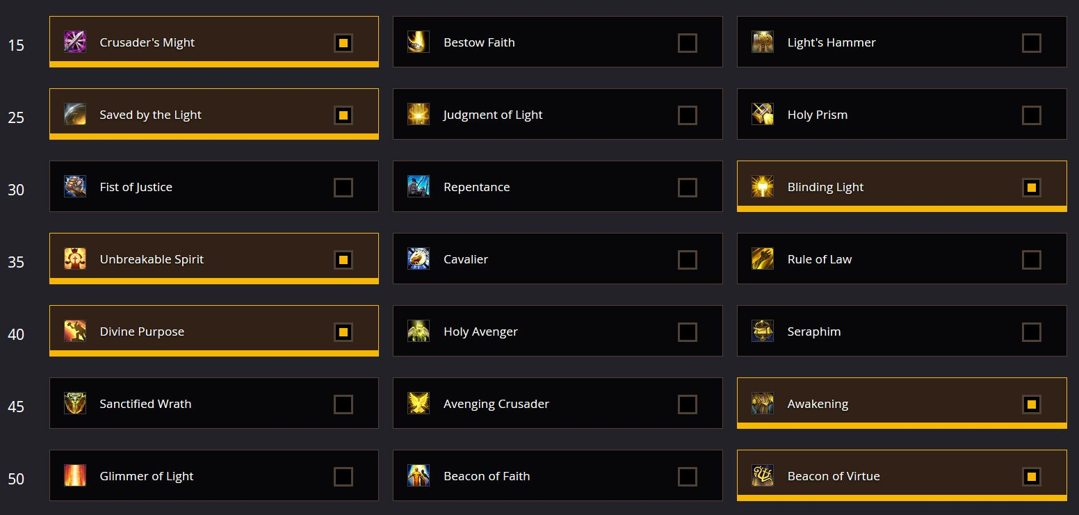 simple holy paladin healing talents