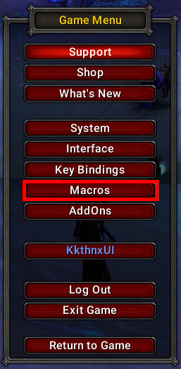 world of warcraft macro game menu